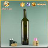 Vert foncé 750ml Bordeaux Bouteille de vin en verre avec bouchons en liège