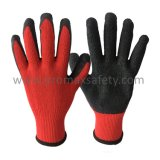 10 перчаток датчика красных связанных Tc при черная покрынная ладонь латекса Crinkle