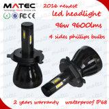 2016 Matec Melhor preço Multicolor LED Headlight Bulb 9007 H4 H7 9005 9006 Carro LED Headlight