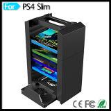 Consola de juegos de discos Torre de almacenamiento del soporte del sostenedor ventilador de refrigeración para Playstation 4 PS4 PS3 Slim consola y PS Move Controller Cargador de dos
