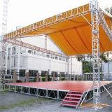 Iluminando a linha móvel móvel do evento põr o fardo global do telhado do parafuso da feira profissional do evento de 4 colunas