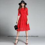Горячая продажа женщин кружева тонкий моды вечер Homecoming платье Ппзу Openboot