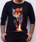 Le T-shirt de mode de la qualité 3D de loup d'impression de longues chemises des hommes ronds personnalisés de collet