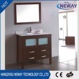 Cabina de cristal de la vanidad del cuarto de baño del lavabo de madera sólida del soporte simple del suelo