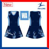 Alguns uniformes de vestidos baratos do Bodysuit do Netball da equipe do logotipo do estilo com Shorts