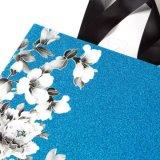 2017 bolsos florales de las compras del regalo del brillo pesado floral iridiscente de las bolsas de papel