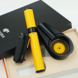 Cohibaの黒いシガーのライターの灰皿の黄色い水和の管旅行はセットした(ES-EB-024)