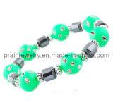 La primavera de la moda Ronda Verde Pulsera de perlas de resina de silicona pulseras de moda el encanto de joyas pulseras con perlas de resina de color verde (PB-027)