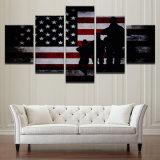 Los cuadros caseros del arte de la pared del marco de la decoración de la lona 5 pedazos del indicador americano de la sala de estar HD de las pinturas imprimen los carteles abstractos de los soldados