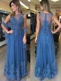 Le bleu de la Dentelle de la mère de la mariée robes de soirée robe longue partie LB1889