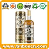 Envase redondo modificado para requisitos particulares del estaño del rectángulo del whisky del vino del metal de la categoría alimenticia