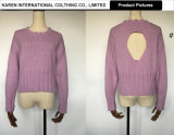 Maglione aperto di porpora del Knit della nuova parte posteriore di stile delle signore