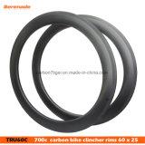 Melhor Qualidade Aros OEM barato 700c a fibra de carbono argumento decisivo 60mm, aros e cubos de bicicletas com 25 mm de largura 3K/12K/Ud