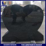 Levantada Headstone em forma de coração e memoriais em granito preto