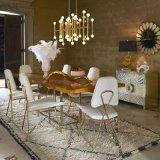 El lujo de acero inoxidable Oro Silla de Comedor silla con una hermosa decoración Volver