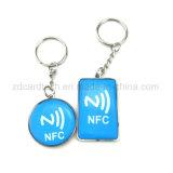 13.56MHz Waterproof o Tag Epoxy do cristal NFC Keyfob com anel do metal/corda elástica