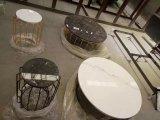 강철 다리를 가진 자연적인 돌 둥근 커피용 탁자