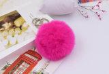Het pluizige Kleine Bont Pompom Verwarde Dierlijke Keychain van de Sleutelring van de Bal van het Bont
