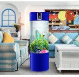Em volta do aquário do cilindro do acrílico de 100% com sistema do ciclo da água e sistema do gaseificador