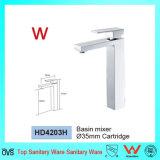 Kraan van het Chroom van het Messing van de Badkamers van de Waren van het watermerk de Sanitaire Vierkante (HD4203H)