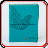 Geprägtes Vögel blaues PU-Notizbuch mit Tasche