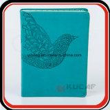 Aves troquelados PU portátil con bolsillo azul