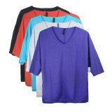 여름 동안 1/2 양 실행 Wemon의 리넨 소매 V 목 t-셔츠