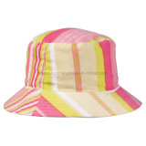 Chapéu flexível reversível do algodão das listras para mulheres