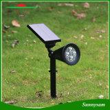 Solar Spotlight 2-en-1 ajustable 4 LED de montaje en pared / paisaje Insertar luces solares con sensor de encendido / apagado automático