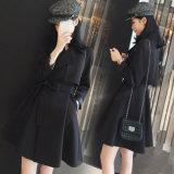 La moda de alta calidad de las mujeres largo abrigo anorak Trench Coat