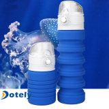 Bouilloire compressible de silicones de catégorie comestible de l'eau de sports extérieurs bleus