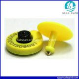 Marque d'oreille jaune de porc de moutons d'IDENTIFICATION RF de la couleur 134.2kHz Em4305