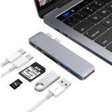 """Cubo multiportas tipo C com porta de carregamento do tipo C, 2 portas de extensão USB 3.0, 1 Cartão SD e 1 leitor de cartão Micro para o MacBook Pro 13"""" e 15"""""""