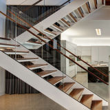 Las pisadas de madera modernas del diseño simple escogen las escaleras rectas del larguero