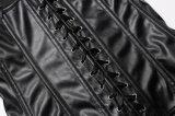 Steampunk Faltenbildungu. Reißverschlussfaux-Leder-Taille Cincher Korsett der Bustier Frauen