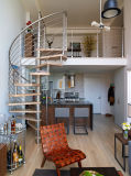 Escalera espiral de DIY/escala elegantes modernas con el pasamano del acero inoxidable