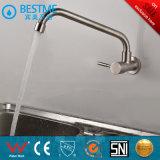 Monté sur un mur à poignée unique des robinets de cuisine en acier inoxydable (SUS304 BN-2076)