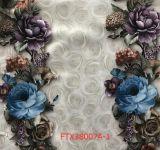 2017 lignes estampées de tissu de velours de fleurs pour le sofa, capitonnage