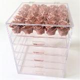 ふたが付いているアクリルの装飾的な構成のオーガナイザーボックス箱の引出し
