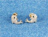 Серьги стержня нержавеющей стали, котор дельфин покрыл Micro вымощают кубический Zirconia для женщин больше цветов 9*12mm продали Парой