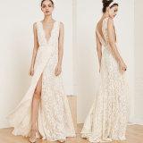 Vestidos nupciais A do laço da V-Garganta - linha vestidos de casamento Sleeveless Dz836