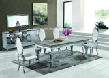 Imitar la parte superior de madera o mármol o de acero inoxidable superior de cristal mesa de comedor