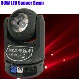 Venta caliente Mini 60W RGBW 4en1 LED de haz de luz en movimiento