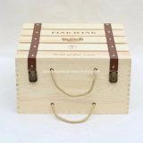 Rectángulo de regalo de empaquetado carbonizado diseño retro natural del vino de madera