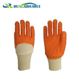 Wholesale Yellow Wave Style Rubber Coated Glove