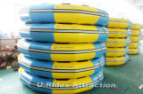 أصفر وماء زرقاء قابل للنفخ رمث مستديرة