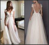 Винты с головкой под рукавами устраивающих платье ВАЛИКА плюс размер кружева вышитого тюля свадебные платья J3185
