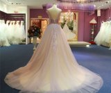 Purpurrotes Tulle, das Spitze-Abend-Kleid bördelt