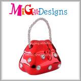 Bolso rojo brillante con la caja de dinero del diamante para los niños