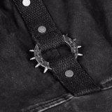 Taschen des Schwarz-zwei schließen Hülsen-Mann-Denim-Hemden kurz (Y-762)